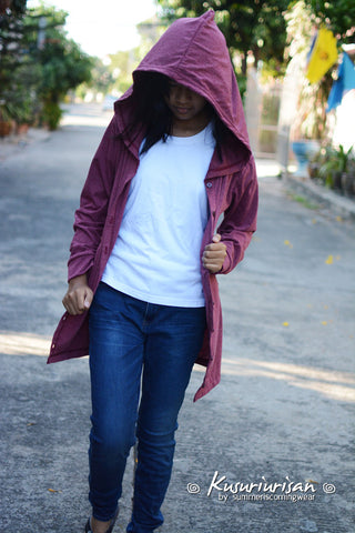 Crimson Grey long t shirt hoodie with button jacket long sleeve