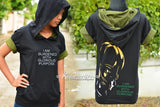 Loki hoodie black and olive green cotton hoodie I am burdened with glorious purpose quote with Loki mix 3 colors on back side