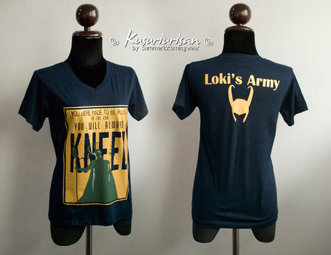 Loki You were made to be ruled and Loki's army with helmet Tshirt GOLD version