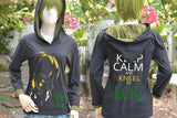 Loki highlight 3 colors with quote I am burdened and keep calm and kneel to Loki black t-shirt hoodie long sleeves
