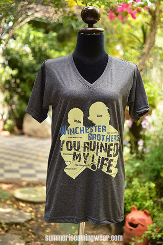 Winchester brother you ruined my life t-shirt short sleeve
