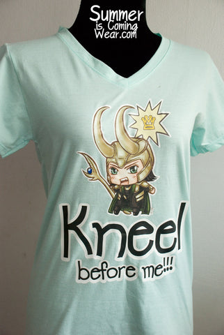 Loki chibi Kneel before me T shirt illustrat by Ju-on