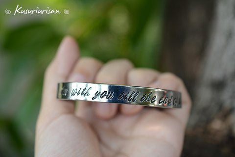 I'm with you till the end of the line 8mm hand stamped Bracelet Cuff hand writing font Captain America and Winter soldier