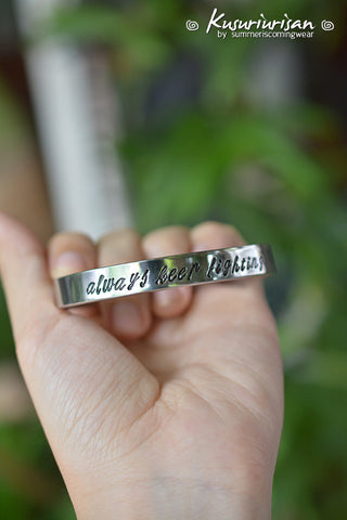 Always keep fighting Supernatural 8mm HQ stainless steel hand stamped Bracelet Cuff hand writing