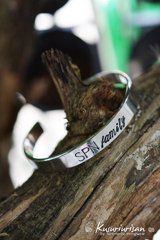 SPN family 8mm HQ stainless steel hand stamped Bracelet Cuff hand writing