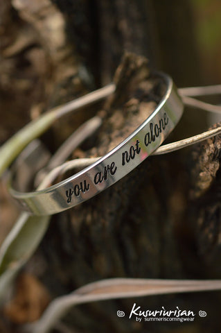 You are not alone Supernatural 8mm HQ stainless steel hand stamped Bracelet Cuff hand writing