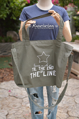 Captain America Bucky Because I'm with you till the end of the line ver2 tote bag