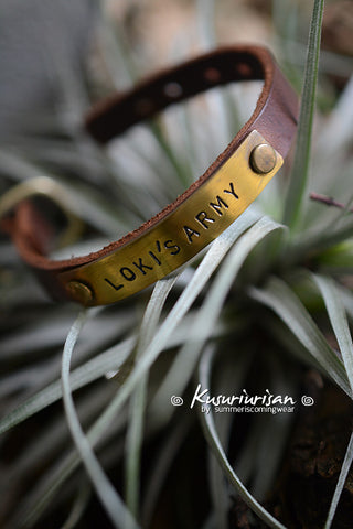 Loki's Army on brass tag brown Leather Bracelet Cuff with buckle
