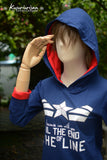 Captain America Blue navy and red t-shirt hoodie I'm with you till the end of the line with white star long sleeve
