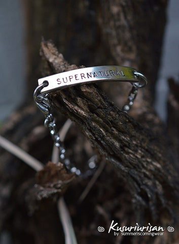 Supernatural 7mm hand stamped Bracelet Cuff with small chain