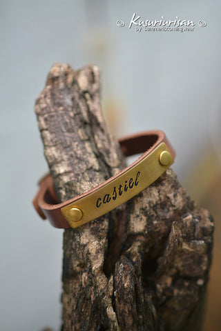 Castiel on brass tag brown Leather Bracelet Cuff with buckle