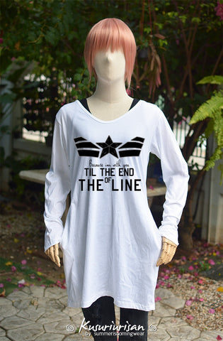Captain America because I'm with you till the end of the line with black star on white tunic dress long sleeve