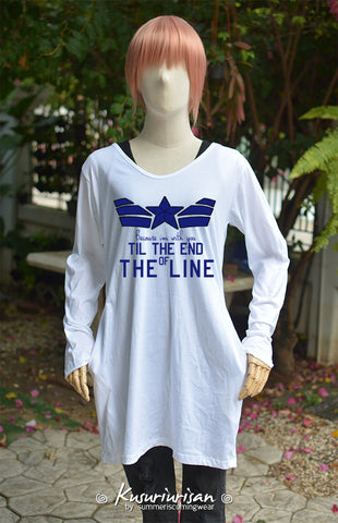 Captain America because I'm with you till the end of the line with blue star on white tunic dress long sleeve