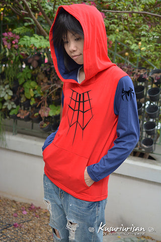 Spider red and blue navy long sleeves t shirt hoodie