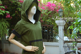 olive green and black t-shirt hoodie short sleeve with black trim on front pocket