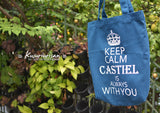 Keep Calm Castiel is always with you tote bag