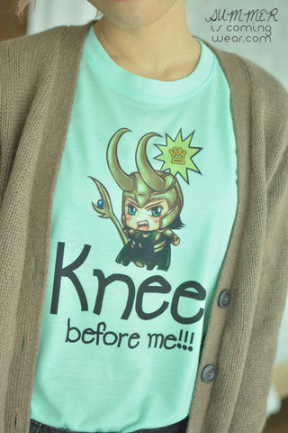 Loki chibi Kneel before me TK t-shirt short sleeve