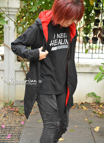 Black and red long t shirt hoodie jacket long sleeve Akatsuki inspired