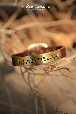 I ship DESTIEL get over it on brass tag brown LeatherBracelet Cuff with buckle