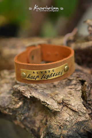 Always keep fighting on brass tag 2cm brown Leather Bracelet Cuff with buckle