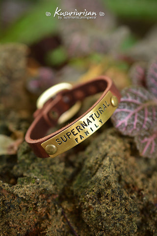 Supernatural Family on brass tag brown LeatherBracelet Cuff with buckle