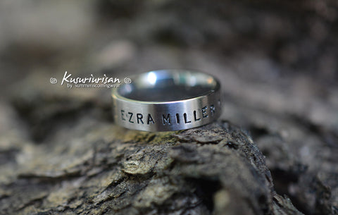 I love Ezra Miller get over it HQ stainless steel hand stamped matte Ring