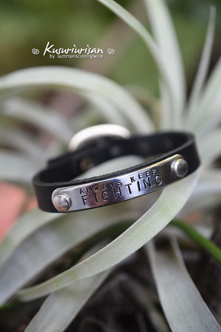 Always keep fighting on stainless steel tag black Leather Bracelet Cuff with buckle