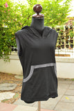 Black and Dark gray cotton Hoodie sleeveless