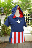 Captain America white star with black shadow blue navy t-shirt Hoodie short sleeve