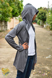 Dark grey long t shirt hoodie with button jacket long sleeve