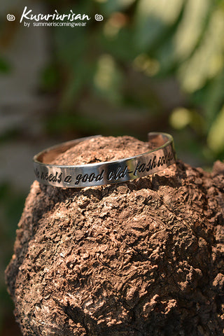 Moriarty every fairy tale needs a good old-fashioned villain 8 mm hand stamped cuff bracelet hand writing