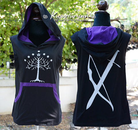 Gondor Hunter t-shirt hoodie with arrow and sword on the back side t-shirt hoodie sleeveless