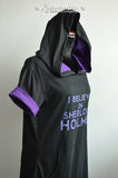 I believe in Sherlock Holmes black and purple t-shirt Hoodie short sleeve