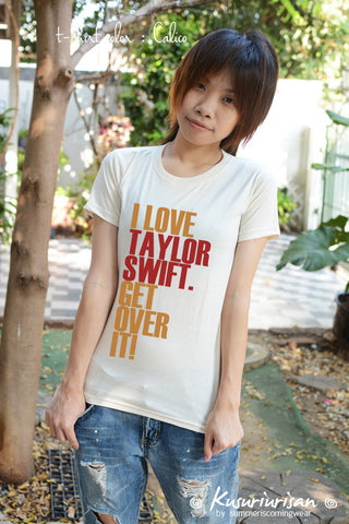 I love Taylor Swift get over it silver metallic ver. t-shirt short sleeve
