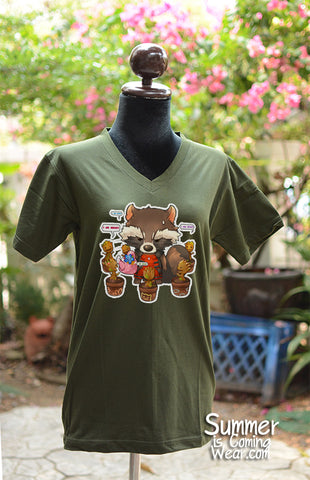 Chibi Groot and Rocket chat after brunch T-shirt Short Sleeve illustrat by KadeArt