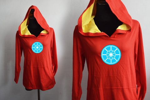 Iron man-Arc energy on red and yellow mark 2 t-shirt Hoodie long sleeve