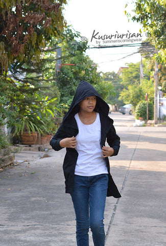 Black long t shirt hoodie with button jacket long sleeve