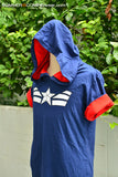 Blue navy and red t-shirt hoodie short sleeve with white star- can choose color