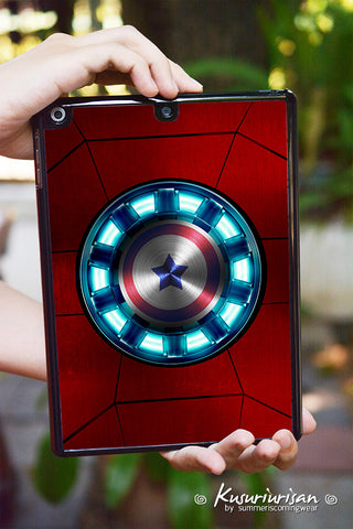 Stony Iron man with Captain America hard plastic iPad tablet case