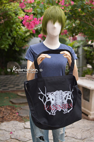 Hannibal rib bone on tote bag mix shoulder bag