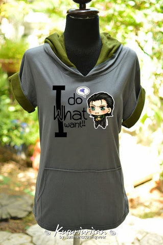 Loki chibi I do what I want hoodie grey and olive green short sleeves
