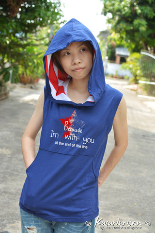 I'm with you till the end of the line red and blue star t-shirts Hoodie sleeveless