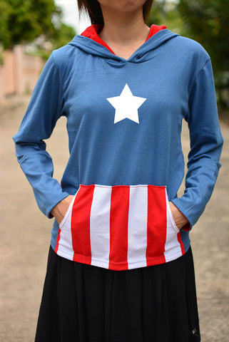 Captain America Blue grey and red t-shirt hoodie with white-red stripe pocket and white star long sleeve