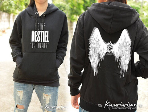 I ship DESTIEL get over it and DESTIEL wing on back side sweatshirt hoodie long sleeve