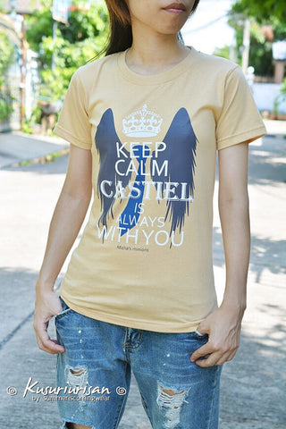 supernatural Keep Calm Castiel is always with you-Misha's minions t-shirt short sleeve