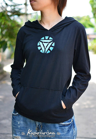 Black hoodie long sleeve with blue-white energy logo-can choose color