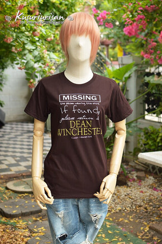 MISSING the person wearing this shirt, if found please return to Dean Winchester t-shirt short sleeve