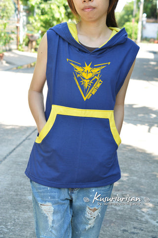 Yellow team INSTINCT t-shirt hoodie sleeveless lightweight hoodie