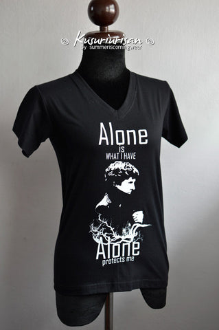 Sherlock Alone is what I have Alone protects me Ver.01 white print T-shirt short sleeve