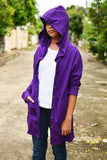 Purple long t shirt hoodie with button jacket long sleeve